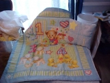Blue Jean Teddy Bear /with Chenille Quilt and Pillow Set