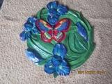 Butterfly & Iris Ceramic Garden Plaque 12x12