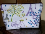 Large Cosmetics bag, makeup bag, zippered bag, toiletries bag, purple, Paris, Eiffel Tower