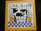 Cow Trivet-Wood Frame-Ceramic Middle 8 x 8