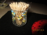 Glass Tooth Pick Holders-Flowers (2) 3x2 Hand Painted