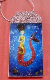 Mermaid Gift Tag, Wood Gift Tag, Happy Birthday Mermaid, Glitter