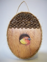 Tanager Birdhouse Wall Plaque