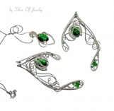 Green and Silver Shades elven ears and pendant, Elven Wedding