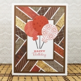 Balloon Birthday Card in Brown and Red