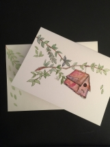 Birdhouse in a Tree Hand-painted Watercolor Greeting Card