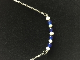 Genuine Sapphire Bead and Sterling Silver and Pearl Necklace
