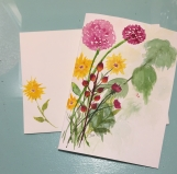 Pink Yellow Wildflowers Psalm 9:1 Hand-Painted Greeting Card