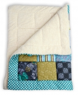 Big cozy soft patchwork blanket with organic cotton teddy plush
