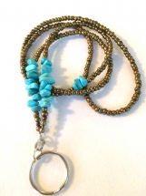 "35"" Turquoise and Red Copper Lanyard"