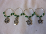 Green Holiday Wine Charms