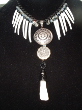 Native American Necklace, Chippewa, Dentalium Shell, Crystal