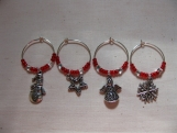 Red Holiday Wine Charms