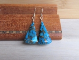 Blue Copper Turquoise Earrings, December Birthstone, Blue & Gold