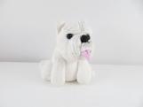Clay white dog sculpture figurine