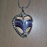 Czech heart-shaped necklace  w silver plated weave