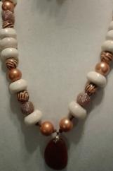 Gold & Cream Stone Necklace & Bracelet
