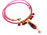 Hot Pink Necklace, Leather Necklace, Teardrop Gemstone Necklace
