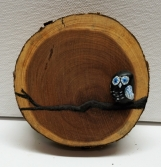 Rock art - Owl sitting on branch