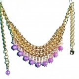 Gold Bib Necklace, Lavender Jade Necklace, Gemstone and Crystal