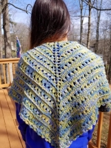 Lovely spring shawl in blue, green and yellow.