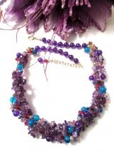 Multi Gemstone Necklace, Amethyst Bead Necklace, Purple Bead