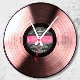 Old pink Loop-store handmade vintage vinyl clock