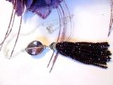 Purple Tassel Necklace, Crystal Tassel Necklace, On Sale