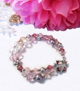 Rose Quartz Pearls and Crystals Bracelet, Pink Gemstone Bracelet