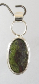 Sterling Silver Pendant with Green & Red Jasper I