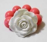Toddler's Chunky Pink and White Flower Bracelet