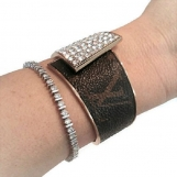 Crystal Bracelet crafted w Louis Viutton monogram canvas upcycle