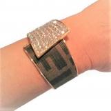 Crystal Bracelet fashioned w Authentic Fendi monogram upcycle