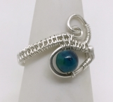 Woven Wire Filigree Ring, with Chrysocolla