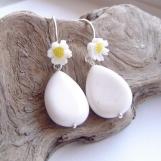 white agate daisy drop earrings sterling silver