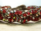 Scarlet Braided Bracelet, Red and Silver, Fire Polished Beads, Handmade, Hand Beaded, Bead Weaving, Vegan, Birthday Gift, Friendship Gift