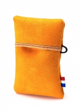 Orange simple soft pouch for keys/credit cards, no metal/plastic