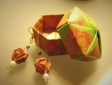Set of Origami Earrings and Origami Box - Dark Red