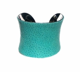 Polished Stingray Silver Lined Cuff in Aqua