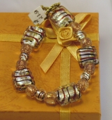 Bracelet with Silver, Black and Rust Striped Glass Beads