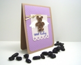 Quilled Angel Bear Baby Greeting Card in Purple