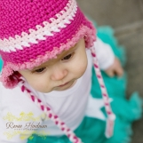 newborn Ear flap Hat- Raspberry Drop- with furry trim