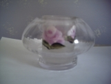 SALE FREE SHIPPING rose glass candle holder  with insert