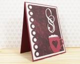 Love Mug Hand Made Card in Wine Colours