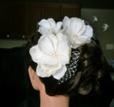 Three Magnolias Flowers with Creamy Seed Pearls Hairpiece