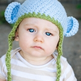 Organic Cotton Mini monkey hat skyblue with pistachio 12 to 24 m