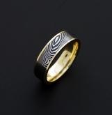 Mens Ring - Genuine Stainless Damascus Steel 18K Yellow Gold