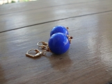 SALE!! Big Blue Balls Leverback Earrings