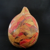 Colorful Hand-Carved Mexican Gourd