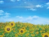 """Sunflowers Field with Blue Sky"" Acrylic Painting on Canvas"